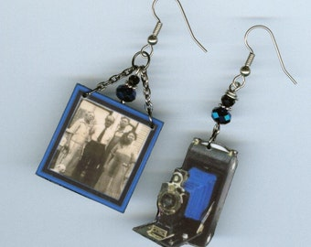 Custom Photo Camera Earrings - Vintage Bellows cameras - family picture gift - group pictures - mismatched asymmetrical - customizable
