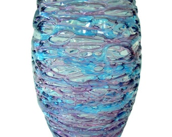 Aqua and Amethyst Spun Glass Vase by Rebecca Zhukov Home Decor Collectible