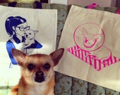 Hot Pink Chihuahua Cone tote bag by Nicole J. Georges