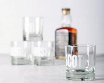 SALE SCOTCH - hand printed rocks glasses White Typograpy