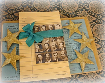 26 piece sChool days ephemera pack . grade cards library cards 1935 composite school pictures