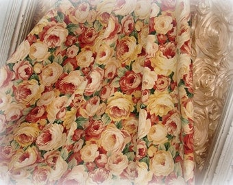 "bed of roses 2 yards 6"" cotton decorator fabric . heavyweight printed floral fabric"