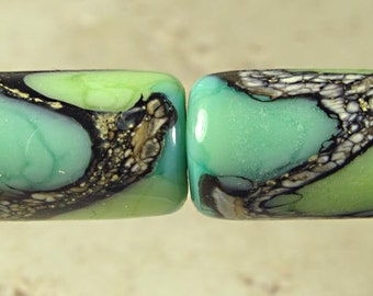 Green Tube Lampwork Glass Bead Pair 10x15mm Little Sirona