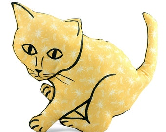decorative pillow, kitten shaped pillow, plush kitten pillow, animal shaped pillow, yellow white floral fabric kitten pillow
