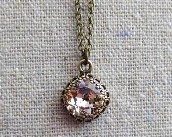 Swarovski Crystal Blush Pink Pale Rose Cushion Cut Square Stone Aged Brass Crown Setting Bridal Necklace Wedding Jewelry Bridesmaids Gifts
