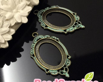 CS-EX-03002MT-  Nickel free , antique brass,Art Nouveau picture frame oval cameo setting charm, mint, 4 pcs (for 25mmx18mm cabochon)