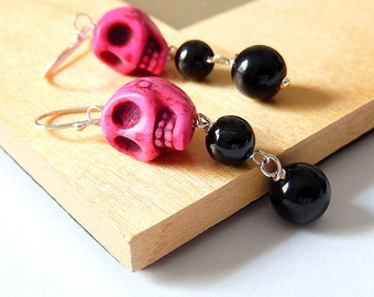 Pink Skull Earrings, Sugar Skull Jewelry, Pink and Black, Day of the Dead, Howlite Onyx Drops, Dia De Los Muertos, Rockabilly Goth Halloween
