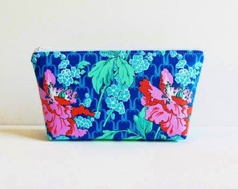 Makeup Bag, Cosmetic Case, Zipper Pouch, Toiletry Storage, Field Poppy in Sky Amy Butler Violette
