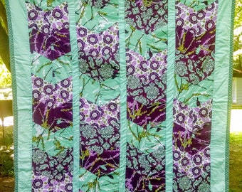 Purple and Teal Aviary Lap Quilt