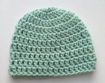 Crochet Baby Hat Mint Green