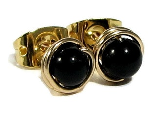 Black Onyx 14k Gold Filled wire wrapped Stud Earrings 4mm or Sterling Silver Choice of beads