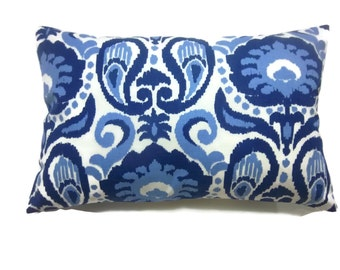Decorative Pillow Cover Lumbar Ikat Design Shades of Navy Blue Cadet Blue White Same Fabric Front/Back Toss Throw Accent 12x18 inch x