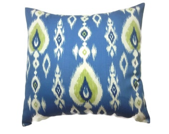 Decorative Pillow Cover  Light Blue Navy Blue Chartreuse White  Ikat Design Same Fabric Front/Back Toss Throw Accent 18x18 inch x