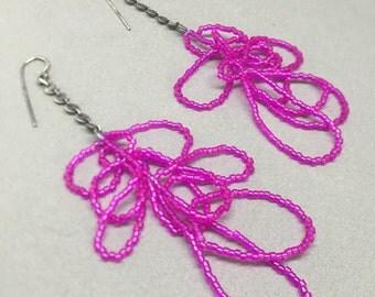 scribble earrings in magenta beaded dangle chandelier long earrings oxidized sterling art earrings