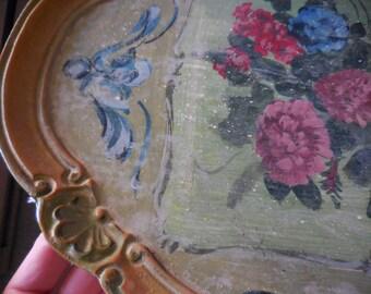 Vintage Shabby Beach Cottage Chic Wood Painted Dresser Floral Paris Flea Market Trinket Tray Feminine Pretty