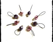 Snag Free Stitch Markers Medium Set of 8 -- Lavender and Lilac Faceted Glass Pearls -- M58 -- For up to size US 11 (8mm) Knitting Needles