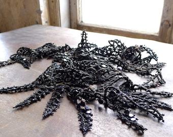 Antique Black Beaded Soutache Passementarie Trim