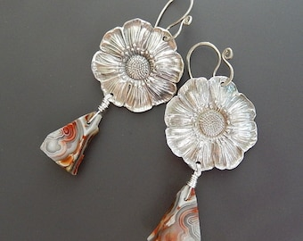 Silver Earrings, Poppy and Crazy Lace Agate Fine Silver and Sterling with Handmade Sterling Earwires
