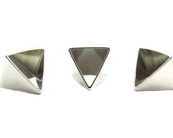 Rhodium Plated Tapered Pyramid Triangle Tube Charms (4x) (K104-B)