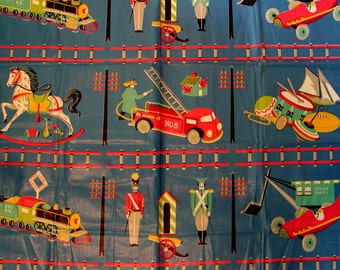 Vintage Chintz // Kardell Design TOY PRINT // 1950's // Washable // Everglaze // Quilt Blocks // 1 Yard Plus