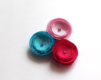 Set of 3 Blue and Pink Poppies Baby Snap Hair Clips