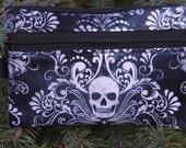 Skull mini wallet, purse organizer, wristlet, Skull Damask, Sweet Pea
