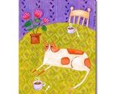 ORIGINAL ginger orange marmalade CAT with coffee and geraniums cat folk art by TASCHA 10x8