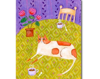 ORIGINAL ginger orange marmalade CAT with coffee and geraniums cat folk art by TASCHA 10x8