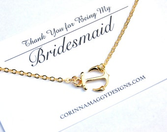 Bridesmaid Gift - Bridesmaid Necklace - Sideways Anchor Necklace - Personalized Wedding Gift - Wedding Jewelry - Bridesmaid Jewelry - Gift