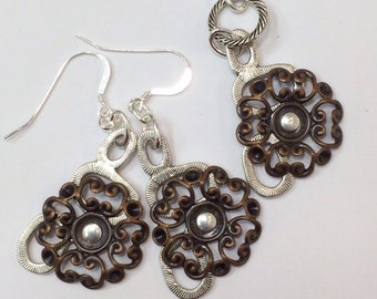 Riveted Earring and pendant set