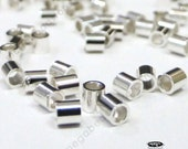 100 pcs 2mm Sterling Silver CRIMP BEADS 2 x 2 mm Tube Spacers F32