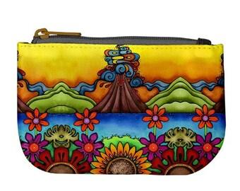 Volcano Sunflower Hawaiian Print Fabric Zipper Fully Lined Art Coin Purse Bag