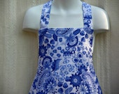 Tween  Pretty Blue and White Apron With Lower Ruffle