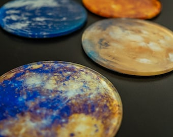 Round Glass Coasters - Planets - Space Enthusiastic - Drinkware - Kitchenware - Astronomy at Home