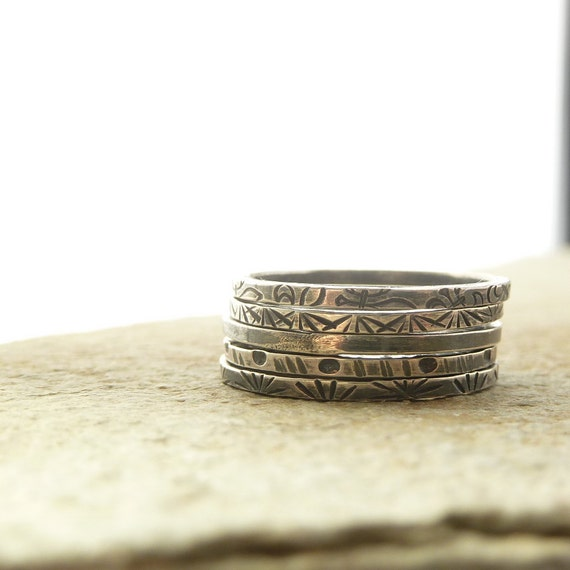 Thin Sterling Silver Stacking Rings, Tribal Designs, Delicate Rings, Five Stack, Bohemian, Silver Stack Rings, Rustic Jewelry, Skinny Stack