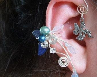 Blue Fairy Bower Ear Cuff Climber No Piercing, Fairytale Wedding Jewelry, Ear Wrap Vine
