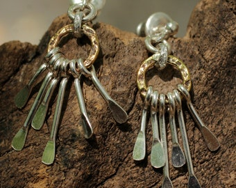 Silver spoon drop earrings with textured brass hoop and silver accents