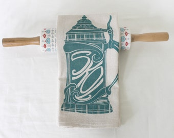 Beer Stein Design- SKOL Block Printed Flour Sack Towel