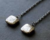 Metaphysical Pyrite Pendulum Earrings / Shoulder Duster Earrings / Fools Gold Jewelry