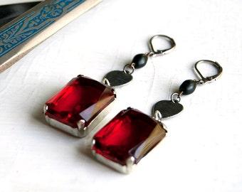 Freya Goddess Glass Red Ruby Steel Heart Gothic Earrings