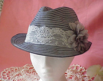 Vintage Embellished Upcycled Women's Black and White Stripe 1920's Fedora Style Hat Fabric Flower and Lace