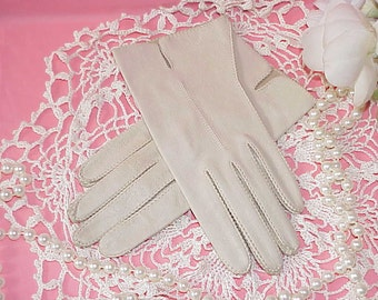 Free Shipping..Women's Vintage Genuine Deerskin Leather Gloves 7