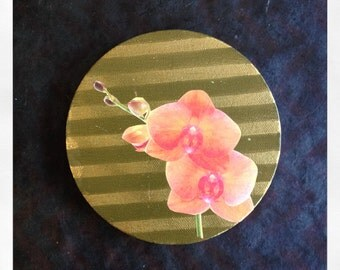 "Original 5"" Round Mini Painting with Collaged Orchid Flower"
