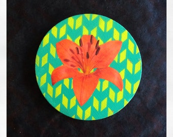 "Original 5"" Round Mini Painting with Collaged Orange Daylily Flower"