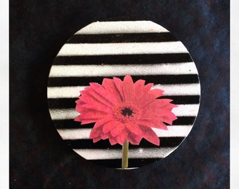 "Original 5"" Round Mini Painting with Collaged Pink Flower"