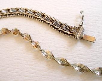 Vintage Sterling Silver Bracelet Lot - Twisted Italy +