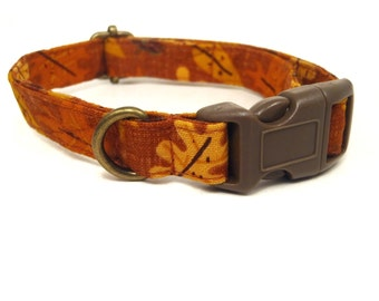 Fall Forward - Halloween Organic Cotton CAT Collar Breakaway Safety - Orange Brown Leaves - All Antique Brass Hardware