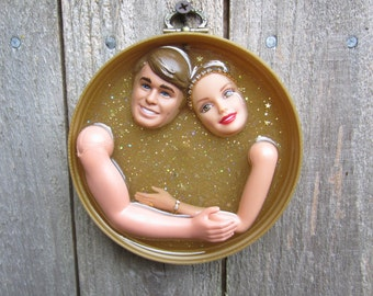 Golden Years Lovers Embrace  - Upcycled Altered Doll Assemblage