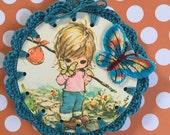 Recycled Vintage Book Illustration - Vagabond Travel Girl - Crochet Ornament / Bookmark