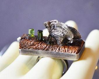 Shelf Mushroom Ring Made With Cast Mushrooms